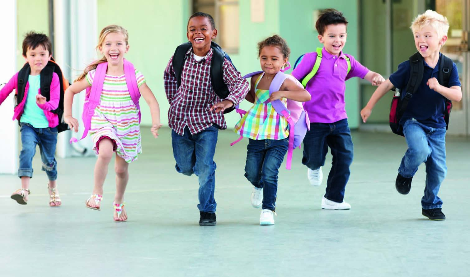 children running in school - photo #1